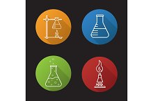 Chemical lab. 4 icons. Vector