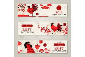 Horizontal banners with rooster
