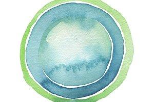 Circle blue watercolor paint