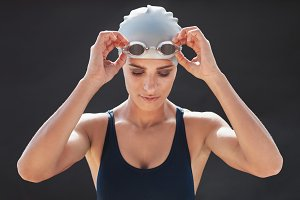 Female swimmer in a swimsuit
