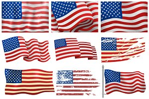 Independence day USA flags