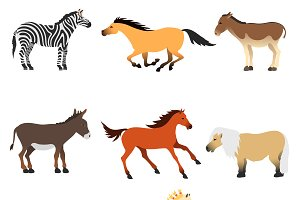 Different cartoon horses vector