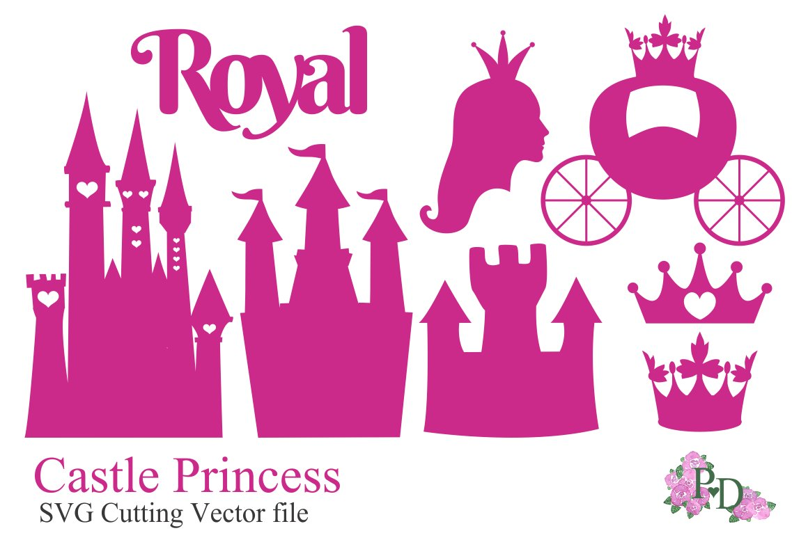 Svg Vector Die Cut Castle Princess Graphic Objects