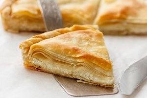 Crispy homemade puff cheese pie