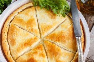 Crispy homemade puff cheese pie