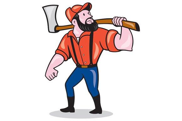 LumberJack Holding Axe Cartoon ~ Illustrations ~ Creative ...