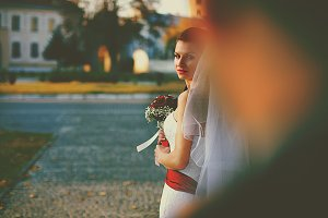 Bride with a bouquet in her arms
