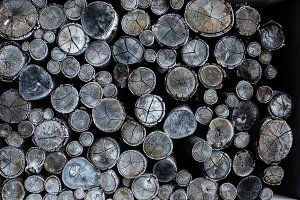 Circle wood pieces background