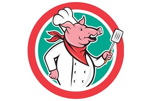 Pig Chef Cook Holding Spatula Circle