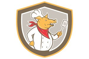 Pig Chef Cook Holding Spatula Shield