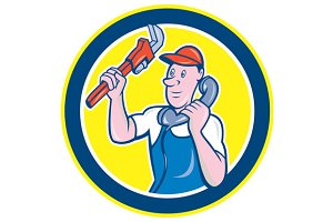 Plumber Monkey Wrench Telephone Circ