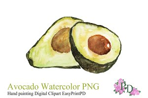 Avocado Watercolor Illustration PNG
