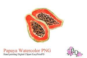Papaya Watercolor Clipart PNG