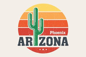 Arizona t-shirt design with saguaro