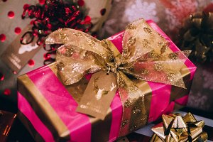 Gold and Pink Christmas Present