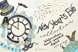New Year`s Eve Watercolor Collection
