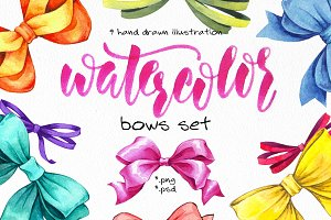 Watercolor bows set