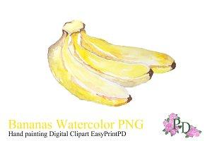 Banana Watercolor Clipart PNG