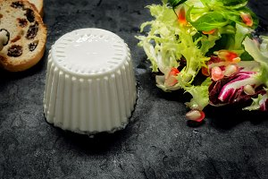 Fresh cheese with salad