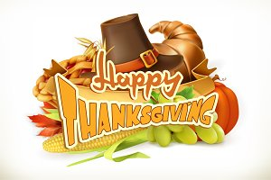 Happy Thanksgiving vector invitation