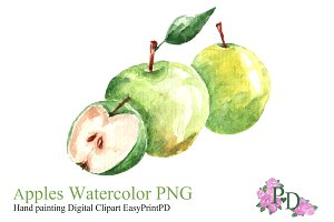 Green Apple Watercolor Clipart PNG