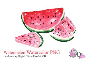 Watermelon Fruit Watercolor Clipart