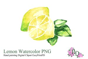 Lemon Fruit Watercolor Clipart PNG