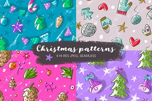 4 Christmas Seamless Pattern