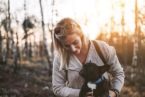 Woman and dog mountain outdoors