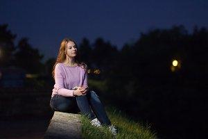 young girl night dark portrait