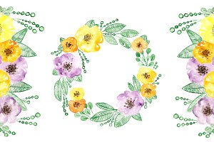 Watercolor Wreath flowers frame PNG