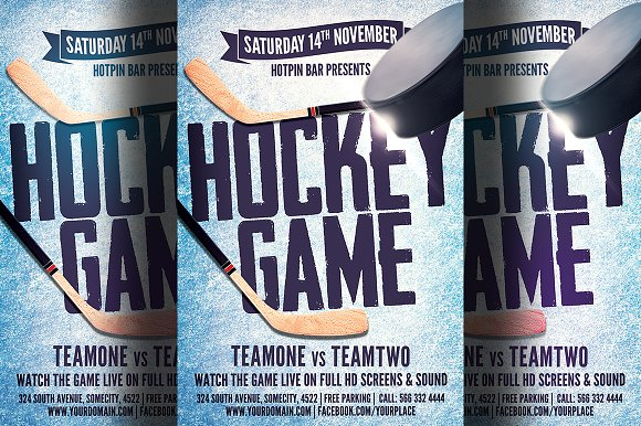 Hockey game flyer template flyer templates creative market maxwellsz