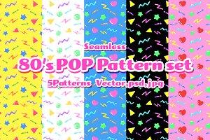 80's POP Seamless Pattern Set