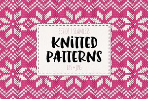 Set of 7 knitted seamless patterns