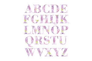 Pink Alphabet Digital Clipart PNG