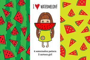 Set watermelon patterns
