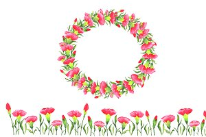 Carnation Wreath Watercolor flower