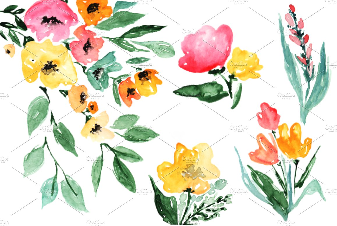 Watercolor flowers autumn clipart illustrations creative market mightylinksfo