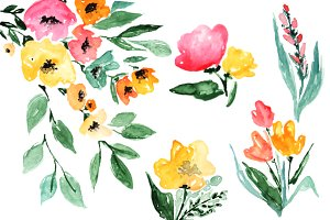 Watercolor Flowers Autumn Clipart