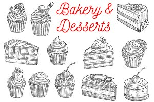 Bakery and pastry desserts sketches