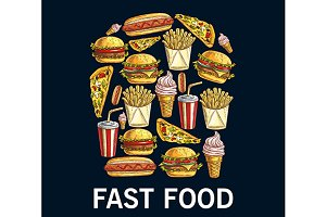 Fast food snacks, desserts and drink