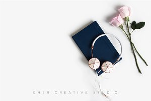 Styled Stock Image Roses & notebook