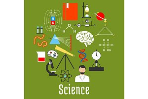 Science research flat icons