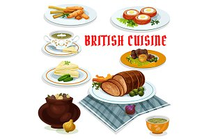 British cuisine dishes and desserts