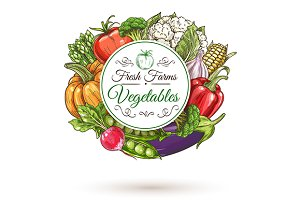 Fresh farm vegetables round badge
