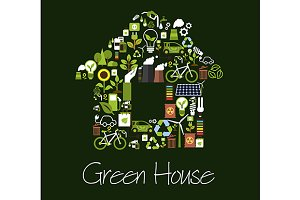 Eco green house symbol