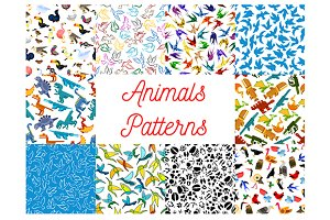 Animals and birds seamless patterns