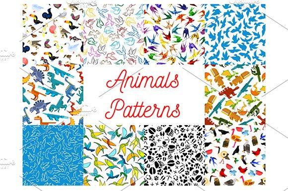 Animals And Birds Seamless Patterns
