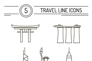 Vector travel line icons set