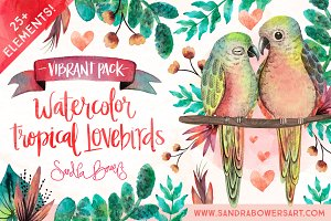 Watercolor Love Birds - Vibrant Pack